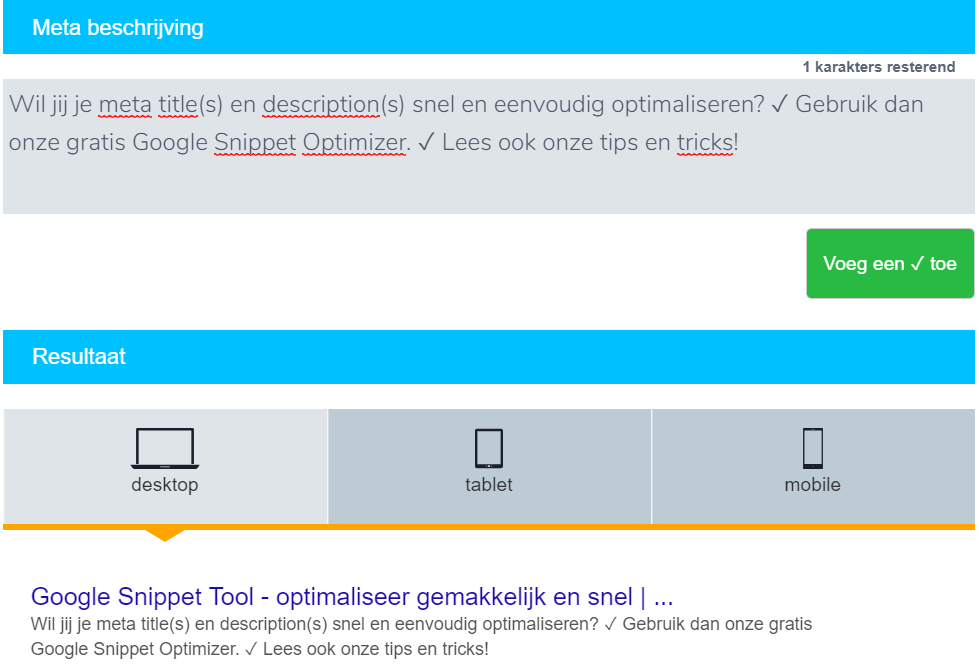 Google snippets optimalisatie tool