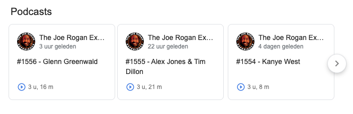 Google podcast resultaten