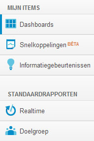 Aanpassing linkermenu Google Analytics