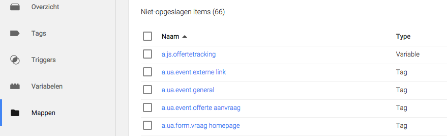 mappen in Google Tag Manager